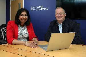 Suella Braverman, Fareham MP, pictured with Paul Holland, chief executive of Beyond Encryption.