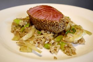 Seared tuna stir fry rice and fennel