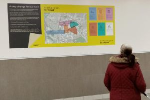 A new posted detailing the 25m plan for the town has been posted outside Boots in the Grosvenors Centre.