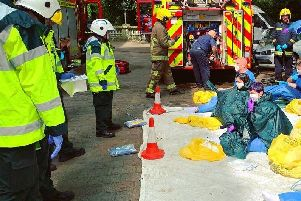 Acid attack drill at the Guildhall in Portsmouth. Picture: SCAS