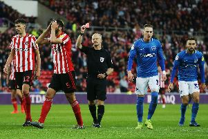 Sunderland's Alim Ozturk was given his marching orders following his 66th-minute foul on Gareth Evans. Picture: Joe Pepler