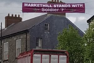 Banner erected in Markethill in support of 'Soldier F'