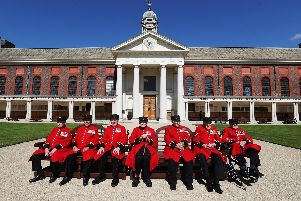 Chelsea Pensioners from left, Roy Cadman, James George, Bill Fitzgerald, Ernie Boyden, Frank Mouque, George Skipper, and Arthur Ellis during a photocall to honour the Royal Hospital Chelsea's remaining Battle of Normandy and D-Day veterans Picture: Jonathan Brady/PA Wire