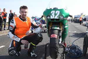 Lisburn's Carl Phillips with the ILR/Mark Coverdale Paton ahead of the newcomers' practice session on Tuesday. Picture: Stephen Davison/Pacemaker Press.