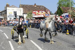 The traditional horse-run down the A334 between Fareham Road and Winchester Road at the Wickham Horse Fair. Picutre: Malcolm Wells