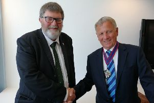 Outgoing chairman of East Sussex County Council Peter Pragnell with his successor David Elkin