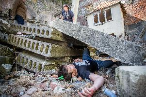 14/5/19''Story: Worlds largest disaster simulation exercise takes place in Fort Widley, Portsmouth''Pictured: Brokenhurst college student, Ethan Kettle posing as a 'victim' waiting to be rescued in a simulated landslide at Fort Widley.''Picture: Habibur Rahman