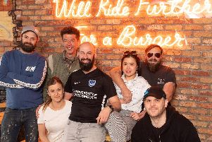 Pictured is: Sam and Leanne Hart, Fark, Banger Man aka Pete, Echo and James Stone, Alex Holden.'Picture: Keith Woodland (110519-20)