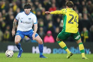 Dion Donohue in action at Norwich in the FA Cup third round. Picture: Joe Pepler