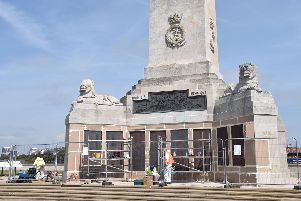 The refurbishment of the War Memorial on Southsea Common by the Commonwealth War Graves Commission ahead of the D-Day celebrations. Picture: Geoffrey Osborne