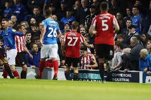 Sunderland defender Luke O'Nien pictured behind the boarding at Fratton Park in the second-leg play-off clash against Portsmouth last night. Picture: Joe Pepler