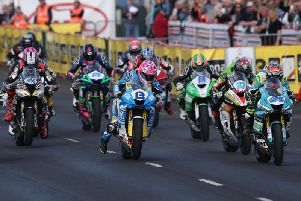 The start of the opening Supersport race at the North West 200 on Thursday, which was won by Lee Johnston (13).