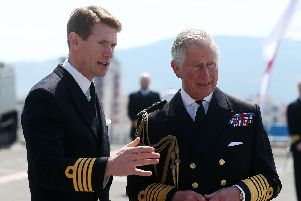 Captain Nick Cooke-Priest with the Prince of Wales. Picture: Niall Carson/PA Wire