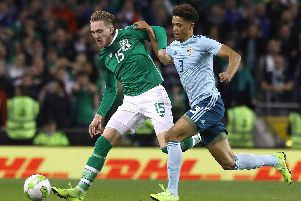 Ronan Curtis (left) on international duty with Republic of Ireland. Picture: Lorraine O'Sullivan