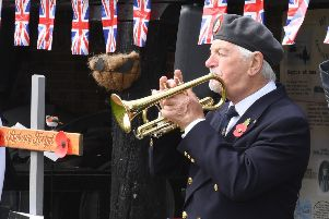 Bugler Eric Vaughan at the Remembrance service at The Village in Skegness. ANL-190520-084410001