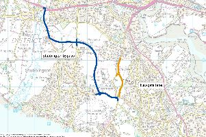 Plan for the Stubbington Bypass (in blue) and the now-built Newgate Lane (in orange)