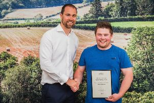Local poultry farmer Daniel Maxwell, was recognised in this year's M&S Select Farm Awards. Pictured with Peter Kennedy.
