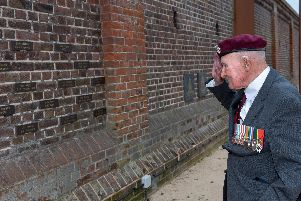 Veteran At D-Day Story Museum in Southsea - Veteran glider pilot Laurie Weeden at the D-Day Memorial Wall. Picture: Vernon Nash (180519-007)