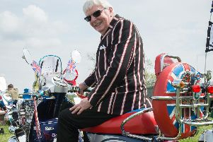 The 25th Chiltern Hills Vintage Vehicle Rally, held at Weedon Park - pictured is Richard Copeland with his 2003 Vespa PX