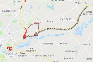 The A45 west is blocked following an accident
