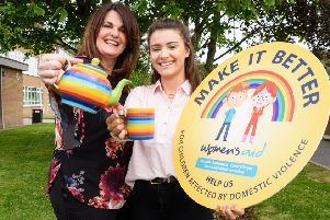 Make A Cuppa and help raise funds for children affected by domestic violence. That's Women's Aid ABCLN's message for Make It Better Week taking place from 20th - 26th May.'Pictured: Women's Aid ABCLN Board Member, Jackie Fisher and Volunteer Holly Gillan.