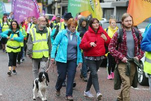 The peace walk in memory of murdered journalist Lyra McKee set off from Belfast on Saturday morning. Pic: Jonathan Porter/PressEye