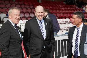From left to right: Pompey boss Kenny Jackett, chairman Michael Eisner and CEO Mark Catlin. Picture: Joe Pepler