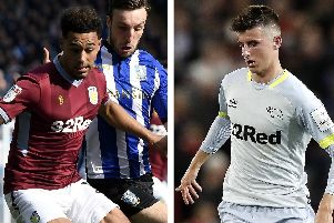 Aston Villa winger Andre Green, left, and Derby forward Mason Mount will do battle in the Championship play-off battle