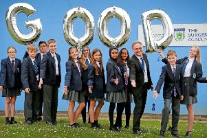 Burgess Hill Academy students celebrating the positive Ofsted rating