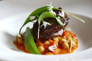 Smoked paprika and chickpea casserole with wood pigeon and wild garlic