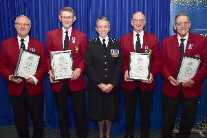 The four members of the Hampshire police choir at their awards ceremony. They have totalled 217 years between them. Picture: Jan Brayley/Brian Wareham