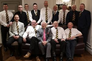 Dromore Amateurs Football Club officials at the club's 60th anniversary celebrations at the Millbrook Lodge Hotel in Ballynahinch. Back row: William McMurray, secretary; Keith Halliday, committee; Roderick McMurray, treasurer; Chris Tate, committee; Russell Ward, chairman; Ned Walsh, committee; Malcolm Russell, committee; Colin Gilliland, committee, Darren McCauley, committee. Front row: Graeme Davis, first team manager; Brendan Maginess, president; Jackie Fullerton; Chris McDonald, vice president, sponsor and Moundview Eurospar proprietor; Ronnie McMurray, vice president