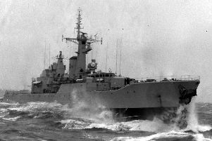 The damaged HMS Falmouth in a picture taken from HMS Tartar in 1976. You can see her damaged bow.  Picture: Mike McBride collection.