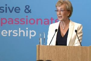 Andrea Leadsom launches her leadership campaign at the Conservative headquarters in Central London this morning.