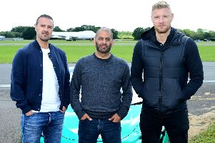 Paddy McGuinness, Chris Harris and Freddie Flintoff with a McLaren 600LT in the new series of Top Gear which airs later this month