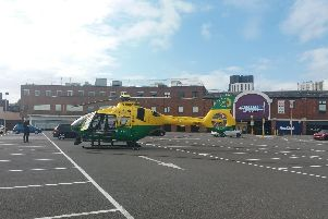 Air ambulance has landed at the car park at the back of the Cascades shopping centre. Picture: Priya Mistry