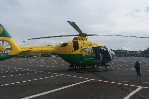 Air ambulance at the Market Way car park. Picture: Priya Mistry