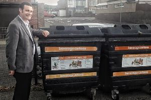 Cllr Dave Ashmore at the new carton recycling bank in Hilsea