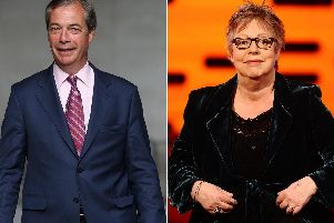Nigel Farage has accused Jo Brand of inciting violence following comments she made during a BBC Radio 4 show. Picture: PA/PA Wire