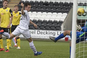 Lawrence Shankland is on Pompey's striking hit-list Picture: Steve Welsh/Getty Images.