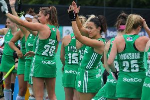 Irish players acknowledge the crowd at Banbridge