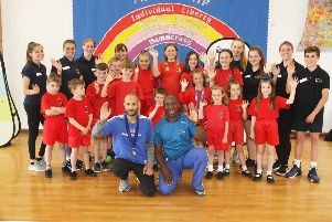 DM1962910a.jpg. GB Commonwealth Games gold medallist Steve Frew, left, visiting Lyminster Primary School with event leader Adrian Patrick, a Commonwealth Games Gold medallist. Photo by  Derek Martin Photography. SUS-190618-171437008