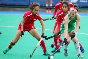 Bethany Barr in action for Ireland against Singapore during the FIH Series Finals