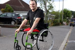 Wheelchair athlete David Williamson has begun his challenge of completing 30 marathons in 30 days. Pictured near his home in Cowplain. Picture: Chris Moorhouse