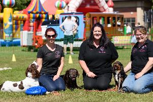 Academy of Modern Canine Behaviour and Training at the Gosportarians Summer Festival (L-R) Orla Waugh with Daisy, Kim Walkley with Nessy and Juliet Andrews with Fudge. Picture: Duncan Shepherd
