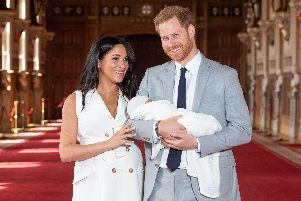 The Duke and Duchess of Sussex with their baby son Archie Harrison Mountbatten-Windsor. Picture: Dominic Lipinski/PA Wire