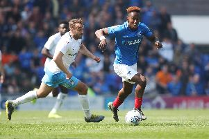 Jamal Lowe is unsettled at Fratton Park following interest from other clubs. Picture: Joe Pepler