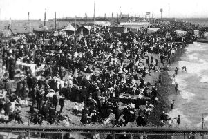 Crowded Southsea beach, from Clarence Pier,  on Regatta Day, about 1910.