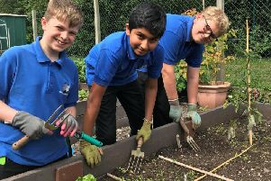 Kenilworth School boys in the garden