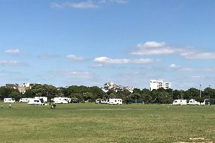 Travellers at Southsea Common, Portsmouth. Picture: Sarah Standing